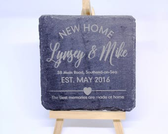 Personalised Housewarming New Home Coasters (Set of 2) - Slate
