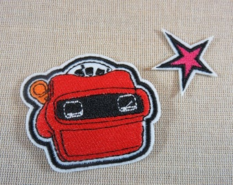 Patch stereo viewer, vintage Patches star slide viewer, Star applied embroidered textile patch, fusible patch, sewing