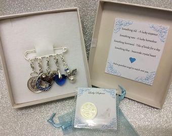 Bridal garter charm pin, wedding gift. Something old, something new, something borrowed, something blue & a silver sixpence for her shoe.