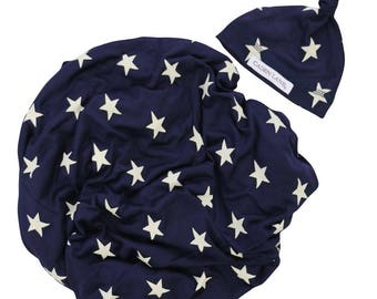 Star Newborn Swaddle Set | Navy and White Star Baby Boy Receiving Blanket | Soft Swaddle Blanket, Hat, Headband
