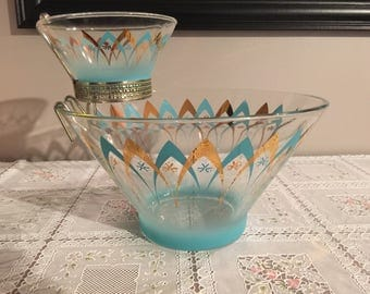 Vintage retro Anchor Hocking turquoise and gold chip and dip set with bracket