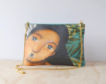 Eco Friendly Leather Clutch, 'Wahine' by ChiarArtIllustration