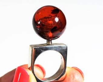Baltic amber silver ring 9g