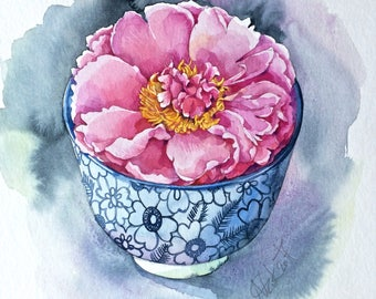 ORIGINAL Peony in Japanese bowl, watercolor still life, flower, illustration, botanical art, gift, wall decor