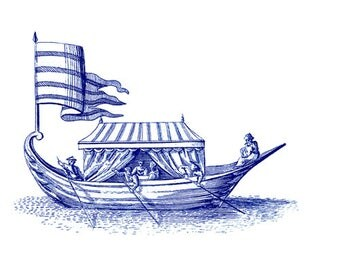 Gift Tag - 18th Century Engraving of Watercraft