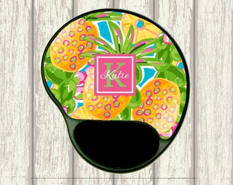 Preppy Tropical Pineapple Custom Mouse Pad With Gel Wrist Rest   Choice Of  Frame, Monogram
