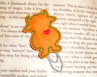 Wild Thing Love Monster - Orange- Paper Clip - Felt Planner Clip - Planner Accessory - Stationery  Cute Paper Clip - Bookmark - Planner Clip