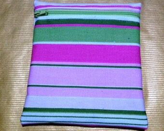 Pink & Green Stripe Small  Poppins Waterproof Lined Zip Pouch - Sandwich bag - Eco - Snack Bag - Bikini Bag - Lunch Bag - Make Up Bag