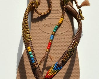 SALE Bohemian Sandals, Foot Jewelry, Women Flip Flops, Women Shoes, Anklet Sandals, Decorated Havaianas, Crochet Sandals, Ethnic Style, Boho