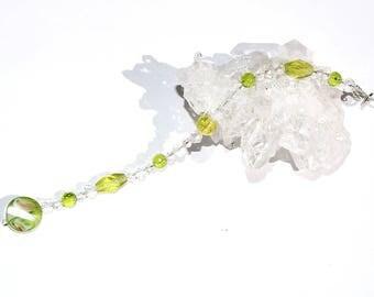 Suncatcher crystal hanger 20cm peridot green clear glas beads cham car mirror pendant window decoration home decor jewelry gift present
