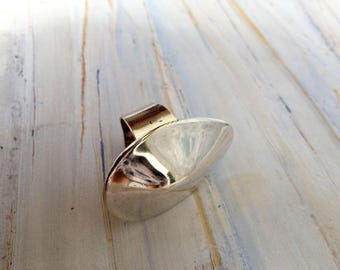 Vintage silver domed modernist ring