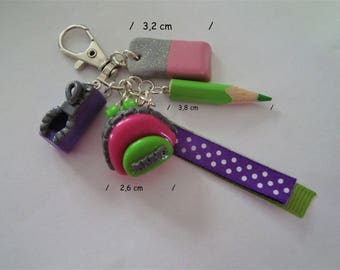 Keychain gum and case with pencil in dough fimo-home purse-grigri-handmade-