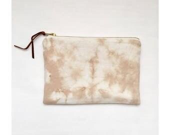 Tea dyed Linen Zipper Pouch