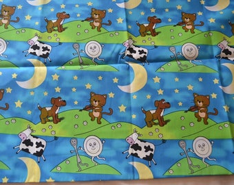 "1 YARD BY 58""  Hey Diddle diddle the cat and the fiddle  fabric"