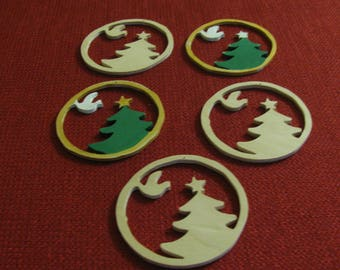 5 Wooden Scroll Sawed  Christmas Ornaments