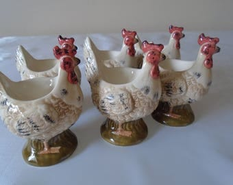 chicken egg cups set of six ceramic.