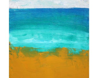 Bright contemporary Original Abstract Landscape Oil Painting 12 x 12 square art Dallas artist Paul Ashby