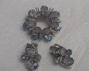 Brooch and Clip on Earring set.