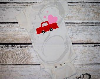 Valentine Truck Infant Bodysuit / Valentines Day / First Valentines / Valentine Baby / Baby Valentine's Day Outfit / Valentine's Day Baby