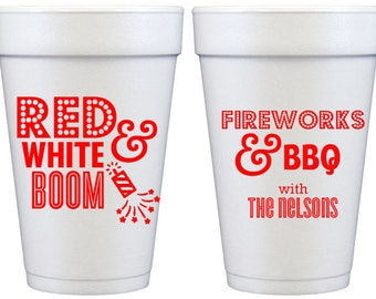 Custom  Styrofoam Party Cups for 4th of July BBQ