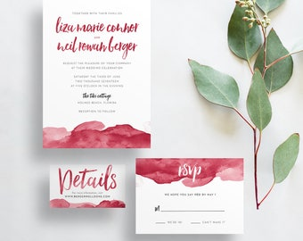 Watercolor Ombre Wedding Invites / Cranberry Red / Brush Lettering / Semi-Custom Wedding Invitation Suite / Printed Invitations