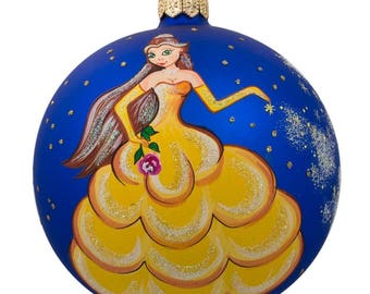 "4"" Princess with Flower Glass Ball Christmas Ornament"