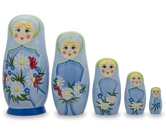 "6"" Set of 5 Girls with Daisy Flowers & Blue Skirt Wooden Russian Nesting Dolls"