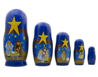 """5.75"""" Set of 5 Nativity Scene Set Wooden Nesting Dolls"""