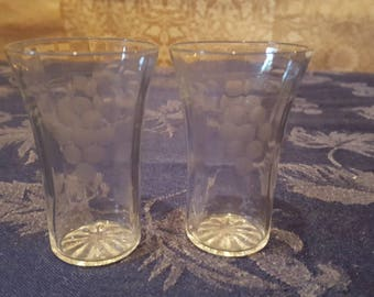 Vintage Pair of Shot Glasses, Etched With Grapes.
