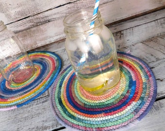 Rainbow Rope Drink Coasters, Handmade Fabric Plate Chargers, Decorative Candle Holder, Coaster for Drinks, Boho Fabric Mug Rug, Laura Loxley