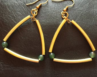 raw brass and green agate earrings