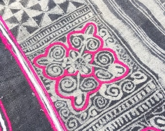 Chinese Batik Fabric, Hill Tribe, Charcoal Gray & White with pink accents.