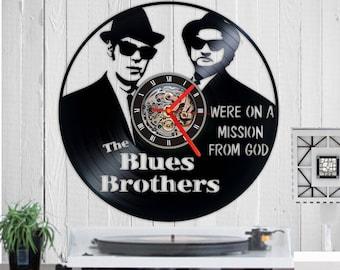 Blues Brothers Vinyl clock Wall clock Mission from god clock Vinyl record clock Birthday gift Clock Vinyl circle Wall décor unique gift