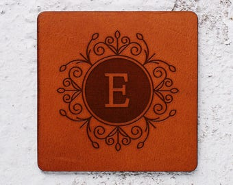 Personalised coasters, Monogrammed gifts, Monogram, Leather coaster, Leather anniversary, Coasters wedding favors, Newlywed gifts