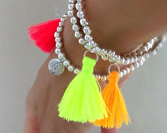 Tassel bracelet, neon bracelet, neon tassels, stacking bracelets, boho bracelets