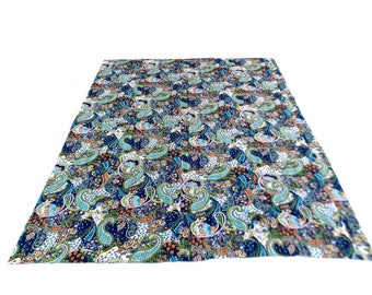 Paisley Design Indigo Handmade Kantha Throw Bedspread Reversible Vintage Quilt in Multi Color