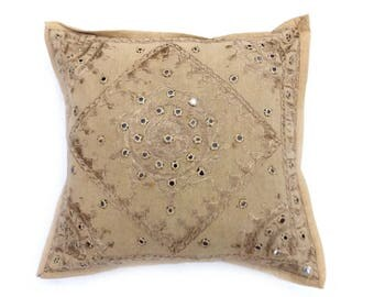 """Indian Pure Cotton Cushion Cover Home Mirror Work Decorative Brown Color Size 17x17"""""""