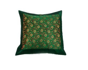 Indian Silk Cushion Cover Home Floral Work Decorative Green Color Size 17x17""