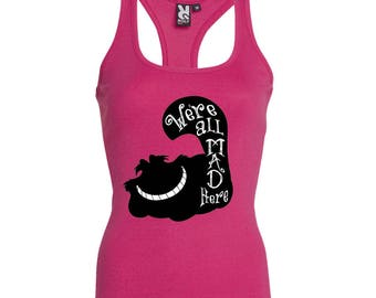 Disney Alice In Wonderland  Tank Top  Girls Cheshire Cat Path  - We're All Mad Here