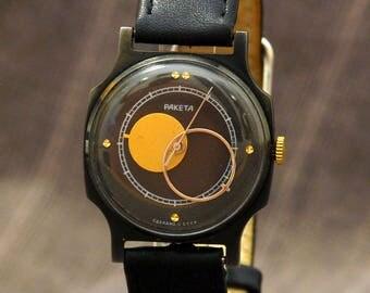 Mens vintage watch, Moon watch, elegant watch, wrist mens watch, soviet watch, boyfriend watch, Raketa
