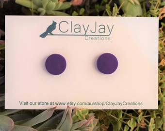 Purple polymer clay earirngs
