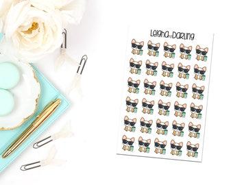 Coffee & Glam Corgi Planner Stickers