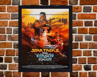 Framed Star Trek II: The Wrath of Khan Movie / Film Poster A3 Size Mounted In Black Or White Frame (Version - 2)