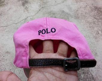 Polo Ralph Lauren Hat Cap Leather Adjustable Free Size Rare