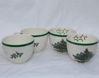 Set of 4 Vintage Spode Christmas Tree Cups Teacups