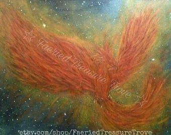 Rise Again - Original Phoenix Acrylic Painting Art Print