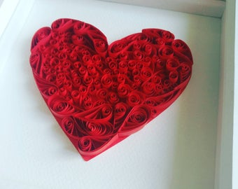 Quilled Love Heart, 3D Wall Art, Anniversary Gift Her, Wedding Gift Couple, Handmade Art, Romantic Art For Bedroom, Paper Cut Heart Wall Art