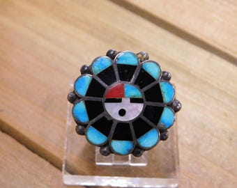Sunface Zuni Inlay Sterling Silver Ring Size 7.75