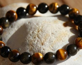 Pearl bracelet in Golden obsidian and Tiger eye gemstones