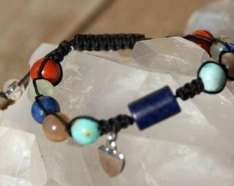 shamballa bracelet with charm and multi beads